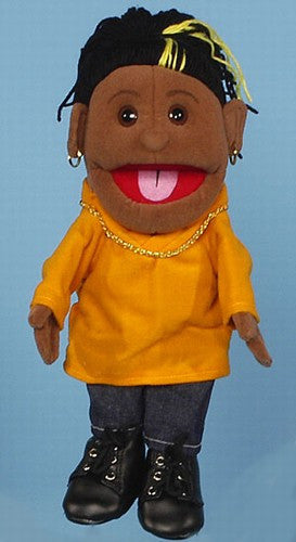 14 Girl Glove Puppet w Orange Shirt Black
