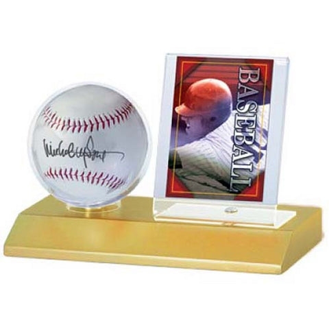 Ultra Pro Wood Base Balll And Card Holder - Peazz Toys