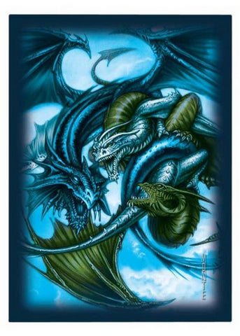 Ultra Pro Trinity Dragon Blue Small-Size Deck Protectors 82701 (60 Sleeves) - Peazz Toys