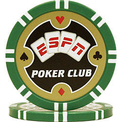 Espn TMC-10-Espngrn Espn Poker Club Professional 11.5G Poker Chip - Green - Peazz Toys