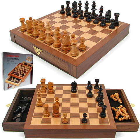12-21129 Inlaid Walnut Style Magnetized Wood W/Staunton Wood Chessmen - Peazz Toys