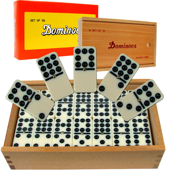 186245 Premium Set Of 55 Double Nine Dominoes W Wood Case