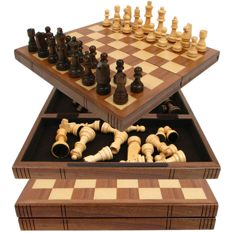 78498 Chess Board Walnut Book Style W/ Staunton Chessmen - Peazz Toys
