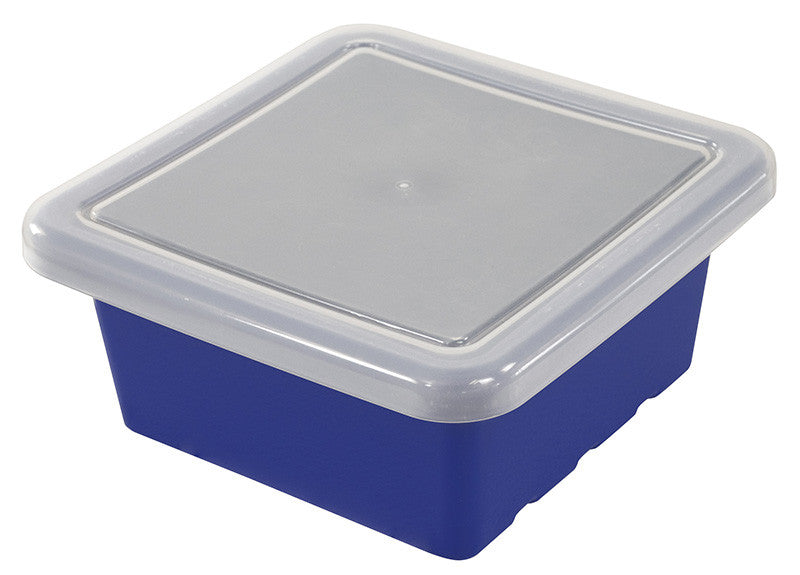ECR4Kids ELR-0801-BL Square Tray with Lid - Blue - Set of 20