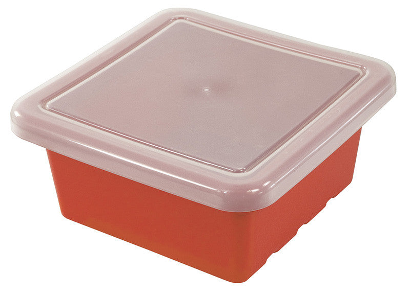 ECR4Kids ELR-0801-RD Square Tray with Lid - Red - Set of 20