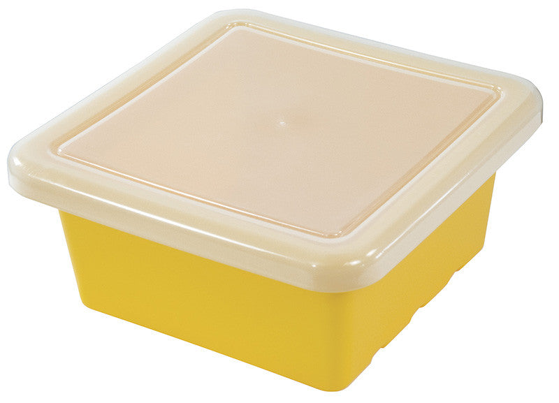 ECR4Kids ELR-0801-YE Square Tray with Lid - Yellow - Set of 20