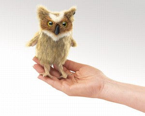 Folkmanis 2752 Mini Owl, Great Horned - Peazz Toys