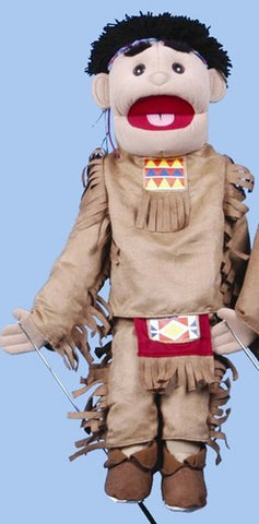 "28"" American Indian Boy Puppet Brown Costume - Peazz Toys"