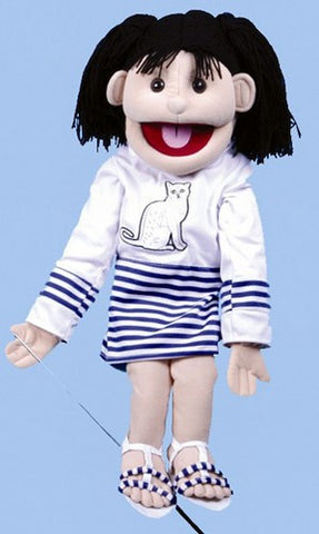 "28"" Girl Puppet w/ Cat Shirt - Peazz Toys"