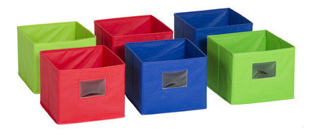 Guidecraft G6328 Fabric Bins: Set of 6 Multicolored - Peazz Toys