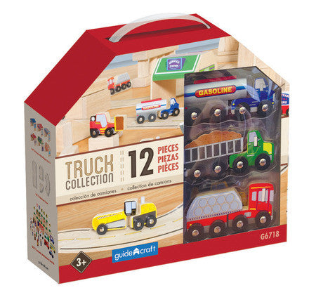Guidecraft G6718 Wooden Truck Collection Set of 12 - Peazz Toys