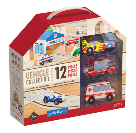 Guidecraft G6719 Wooden Vehicle Collection Set of 12 - Peazz Toys