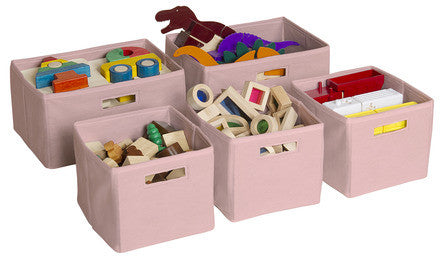 Guidecraft G85709 Pink Storage Bins-Set of 5 - Peazz Toys