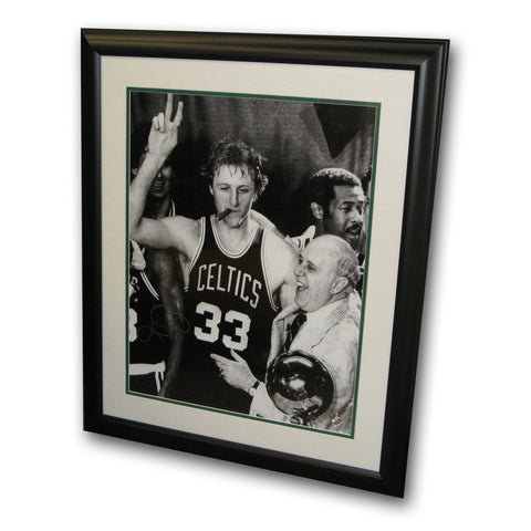 "Autographed Larry Bird 16-By-20 Inch Framed Photo ""Cigar"" - Peazz Toys"