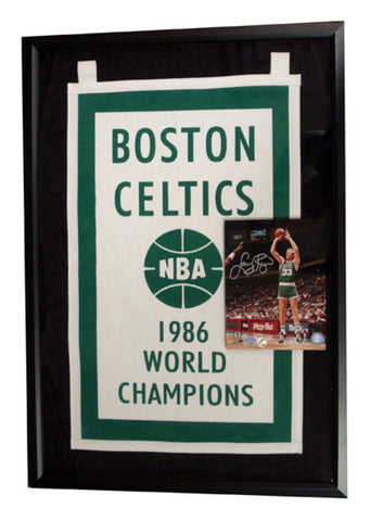 Autographed Larry Bird 8X10 Photo With 1986 Championship Banner Framed - Peazz Toys