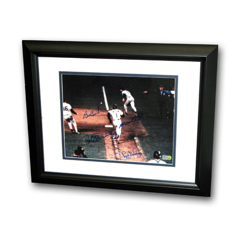 Bill Buckner/Mookie Wilson Dual Signed 8X10 Framed Photo of The Famous 1986 World Series Game 6 Play. - Peazz Toys