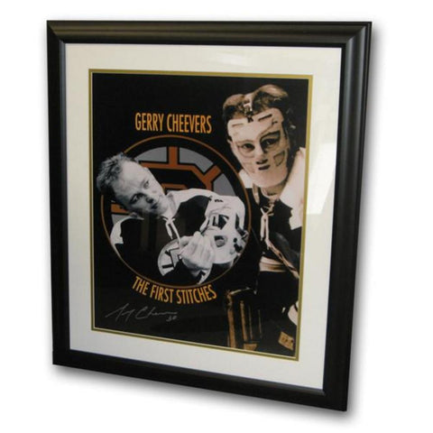 Autographed Gerry Cheevers First Stitch framed 16x20 Photo - Peazz Toys