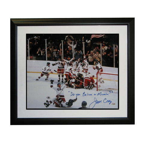 "Autographed Jim Craig 16x20 from the 1980 Olympics inscribed "" do you believe in miracles?"" - Peazz Toys"