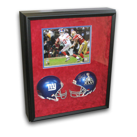 Autographed Eli Manning Super Bowl 46 mini replica helmet framed in a shadowbox with an unsigned 8x10 photo. - Peazz Toys