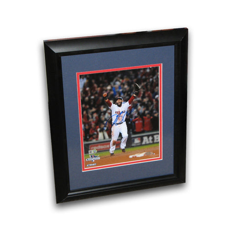 Dustin Pedroia autographed 2013 World Series 8x10 framed last out celebration photo. - Peazz Toys
