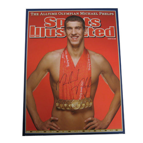 Autographed Michael Phelps Sports Illistrated Cover With His 8 Gold Medals From The 2008 Olympics - Peazz Toys
