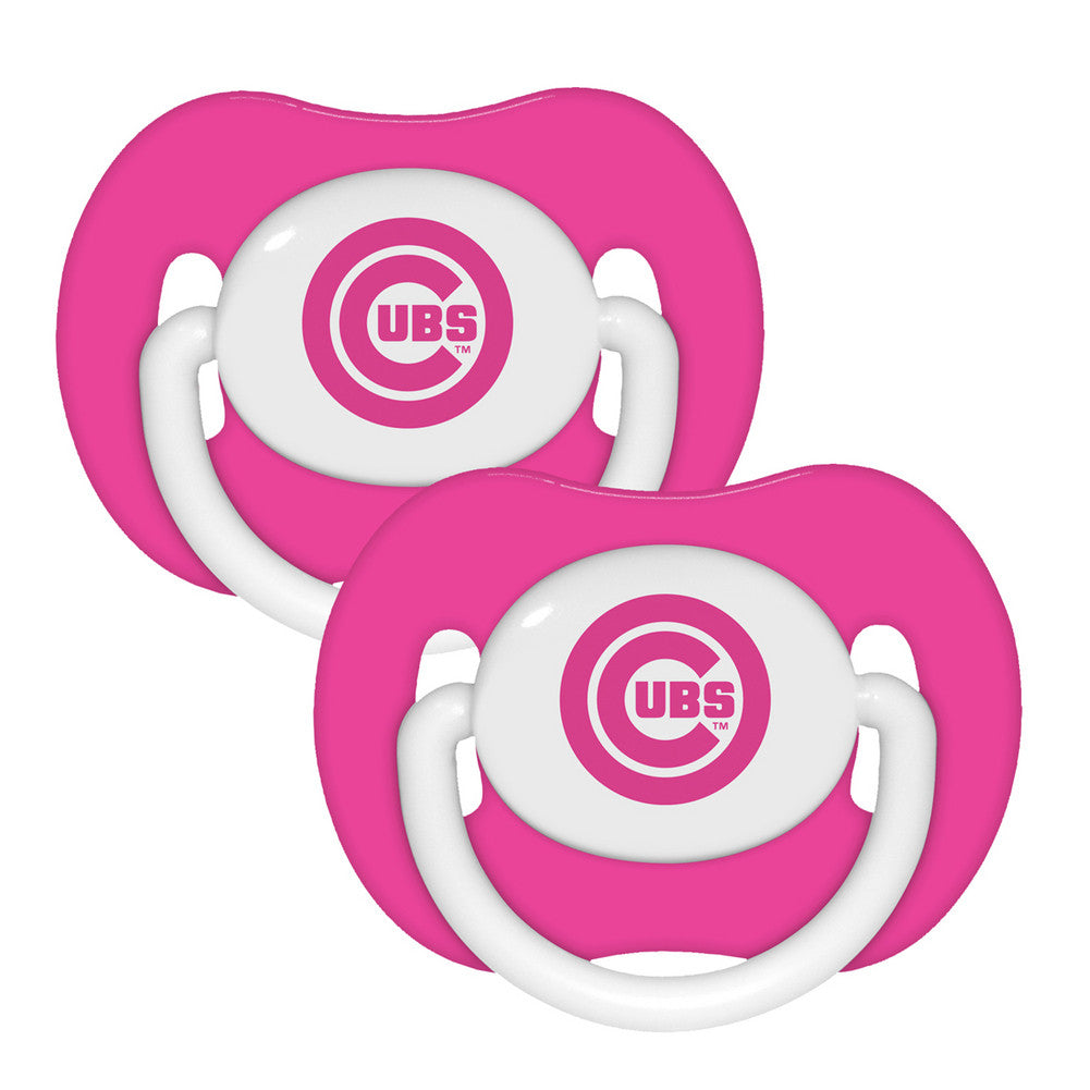 2 Pack Pink Pacifiers Chicago Cubs