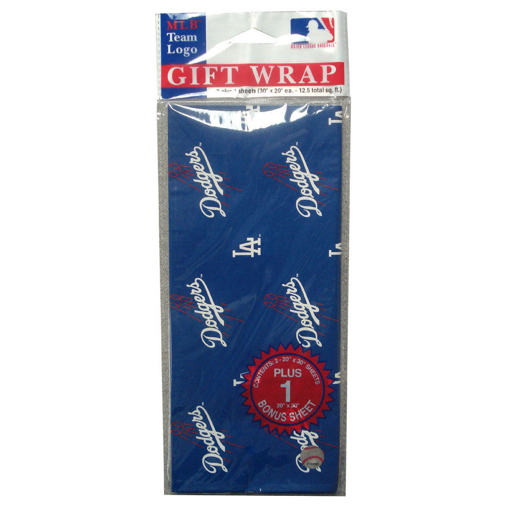 2 Packages of MLB Gift Wrap Dodgers