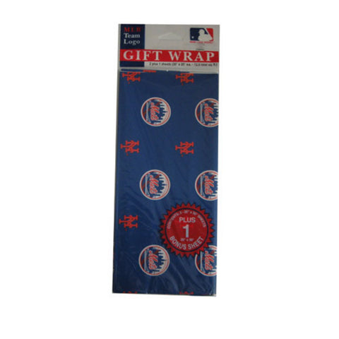 2-Packages of MLB Gift Wrap - Mets - Peazz Toys