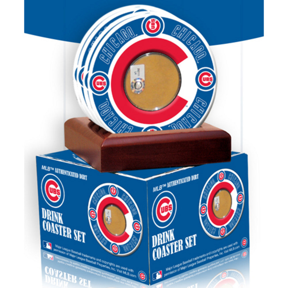 2010 Game Used Dirt In Chicago Cubs Logo Set of 4 Coasters MLB Authenticated