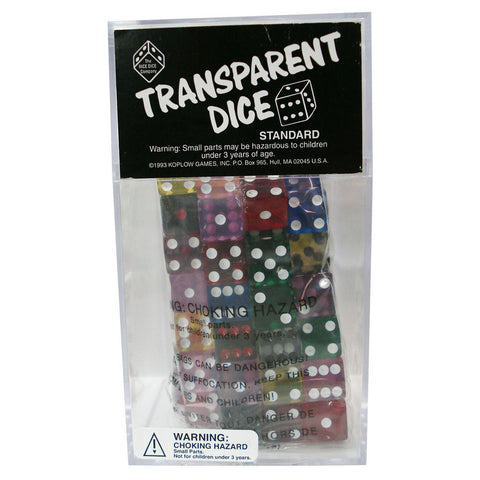 Dice: D6 100/Box 16Mm Transparent Asst. - Peazz Toys