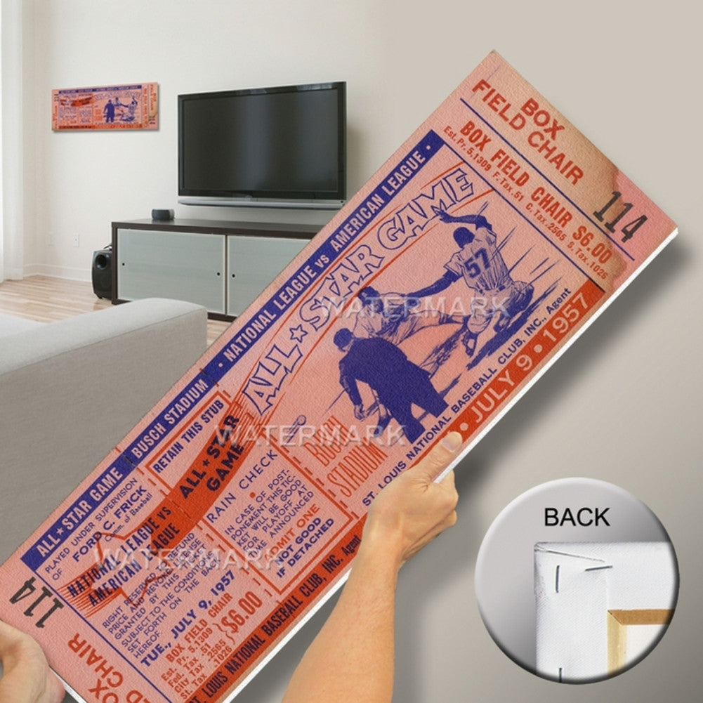 1957 All Star Game Canvas Mega Ticket St Louis Cardinals Host