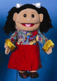 14 Hispanic Girl Glove Puppet w Red Skirt