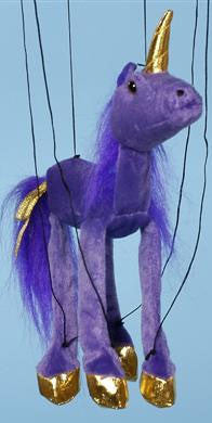 16 Purple Unicorn Marionette Small