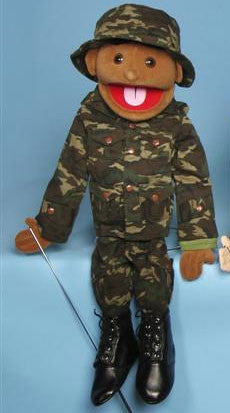 "28"" Army Boy Puppet Black - Peazz Toys"
