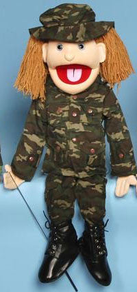 "28"" Army Girl Puppet - Peazz Toys"