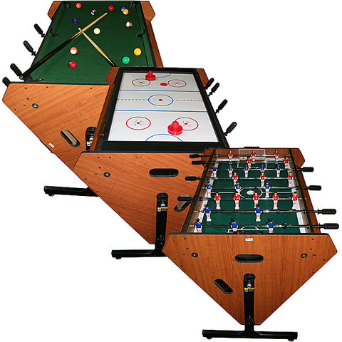 3 in 1 Rotating Table Game Billiards, Air Hockey, Foosball - Peazz Toys