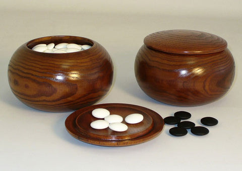 8mm x 21mm Jangstone Glass Go Stones w/ 2 Wood Bowls 22808K-06 - Peazz Toys