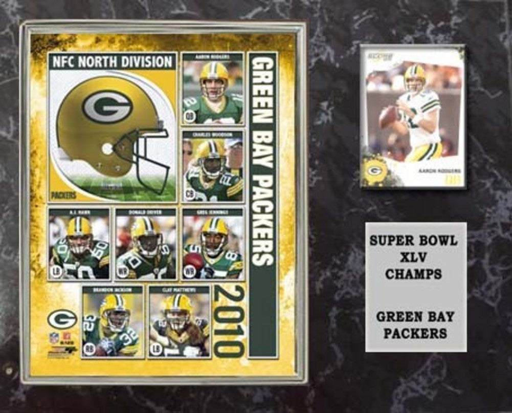12X15 Super Bowl 45 Plaque With Authentic Football Card And 8X10 Photo Green Bay Packers