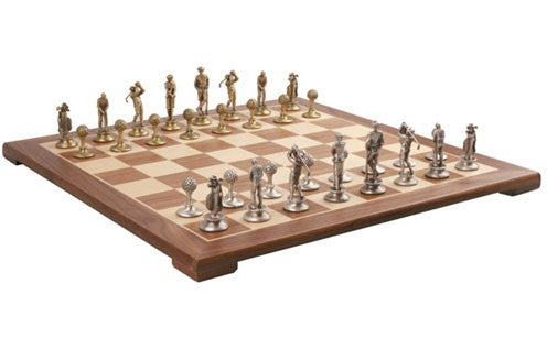 Brass and Silver Pewter Golf Chess Set Pieces with Walnut Chessboard