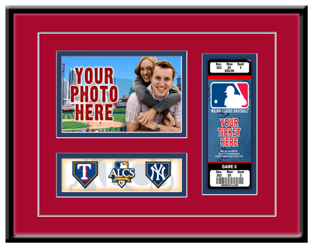 2010 Alcs Photo And Ticket Frame Texas Rangers