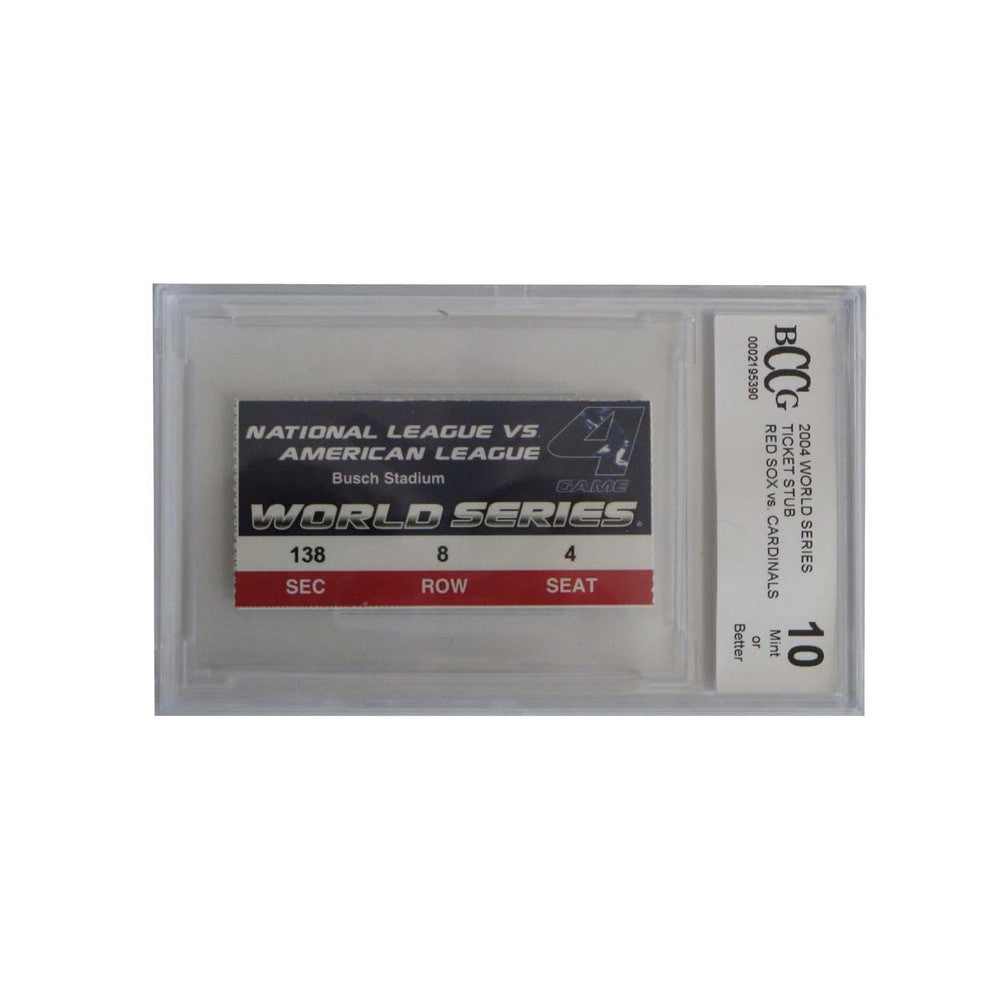 2004 World Series Game 4 Ticket Stub Graded Bccg 10