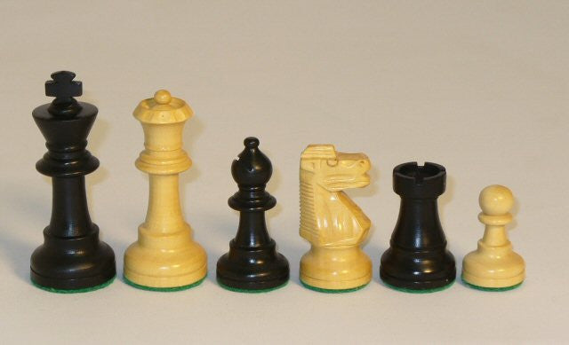 """Black And Natural Boxwood French Knight Chess Pieces Single Weighted And Felted, 3"""" King"""