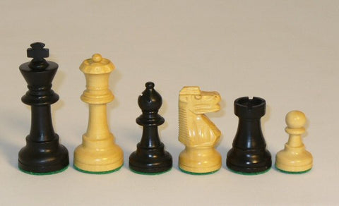 "Black and Natural Boxwood French Knight Chess Pieces Single Weighted and Felted, 3"" King - Peazz Toys"