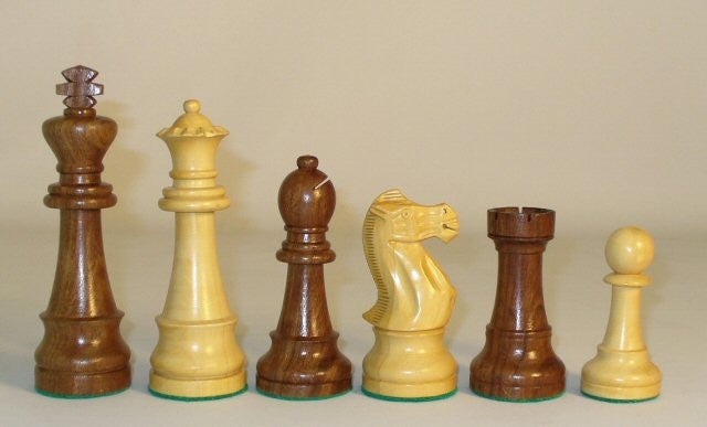 "Large Sheesham And Boxwood Chess Pieces, 6"" King"