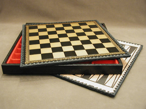 "Black/Gold Pressed Leather Chess Chest w/ 1.25"" Squares - Peazz Toys"