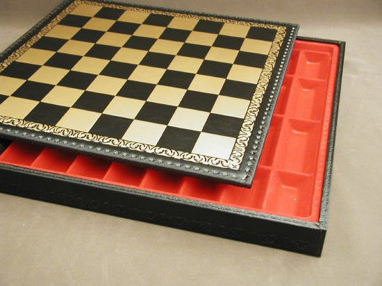 17 12 Pressed Leather Chess Board and Chest Black and Gold 1 34 Square