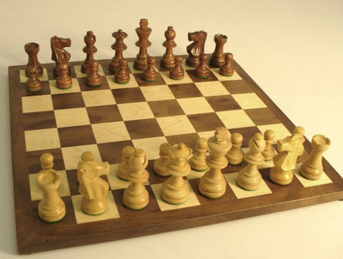 "Sheesham French Knight Walnut Chess Pieces with 12"" Maple Veneer Chess Board - Peazz Toys"