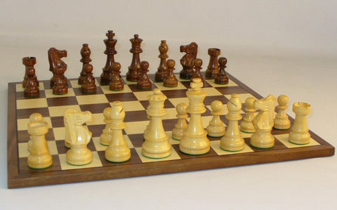 "Sheesham/Boxwood French Knight Weight/Felted Chess Pieces with Walnut/Maple 15"" Chess Board - Peazz Toys"