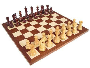 "Old Russian Rosewood Chess Pieces, Double Weighted, 3 3/4"" King on 17 3/10"" Dark Rosewood/Maple Chess Board - Peazz Toys"