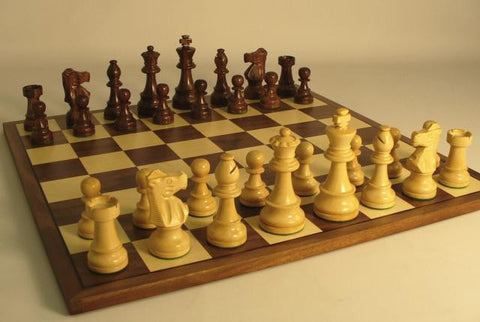 "Sheesham/Boxwood Chess Pieces, French Knight, wtd/ftd, 3 3/4"" King on 17"" Walnut Veneer Chess Board - Peazz Toys"